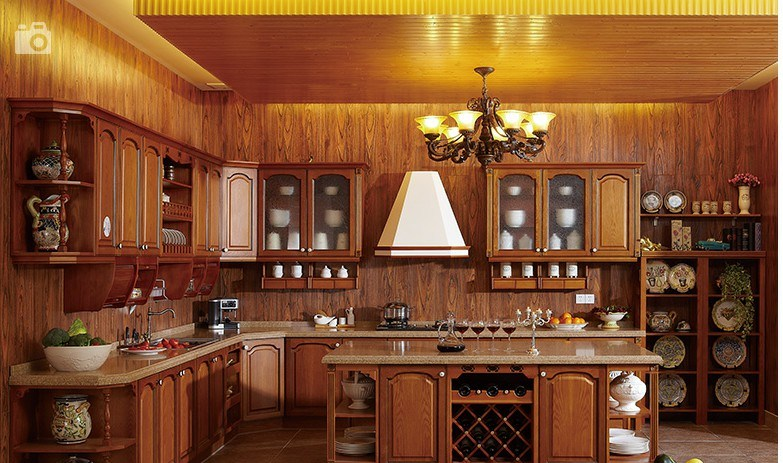 Classical Walnut Kitchen Cupboard Cabinets