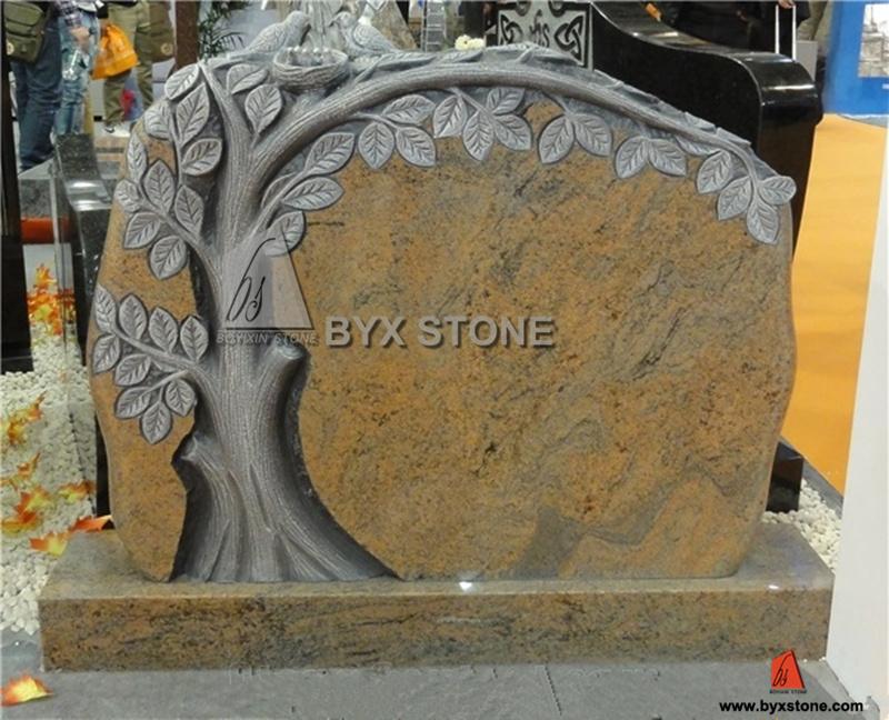 Shanxi Black Granite American Style Tree Shape Monument&Tombstone Bench