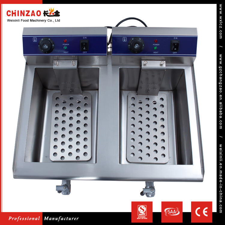 17L Dual Tank Stainless Steel Electric Deep Fryer W/ Drain