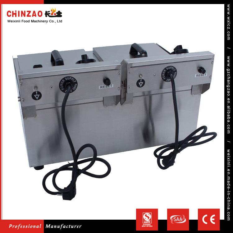 17L Dual Tank Stainless Steel Electric Deep Fryer W/ Drain