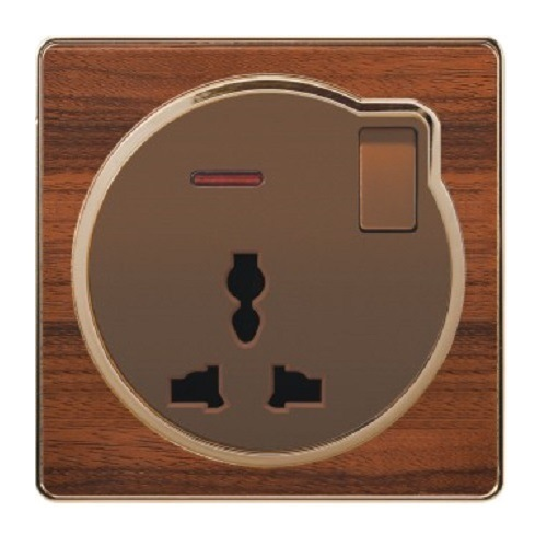 British Standard Wood-Textured 13A Multi-Functional Switch Wall Socket with Neon