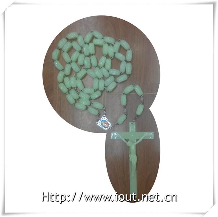 Rose Rosary Photo Connector Luminous Plastic Big 20mm Bead Necklace (IO-cr380)