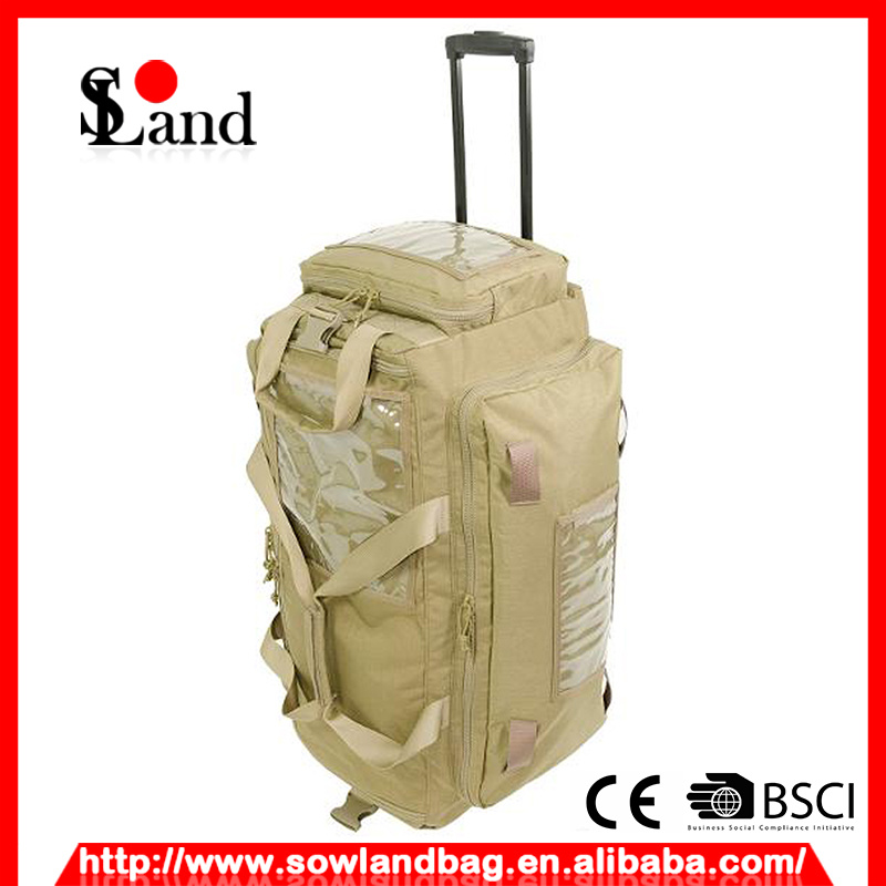 Tan Cordura Fabric Military Trolley Bag