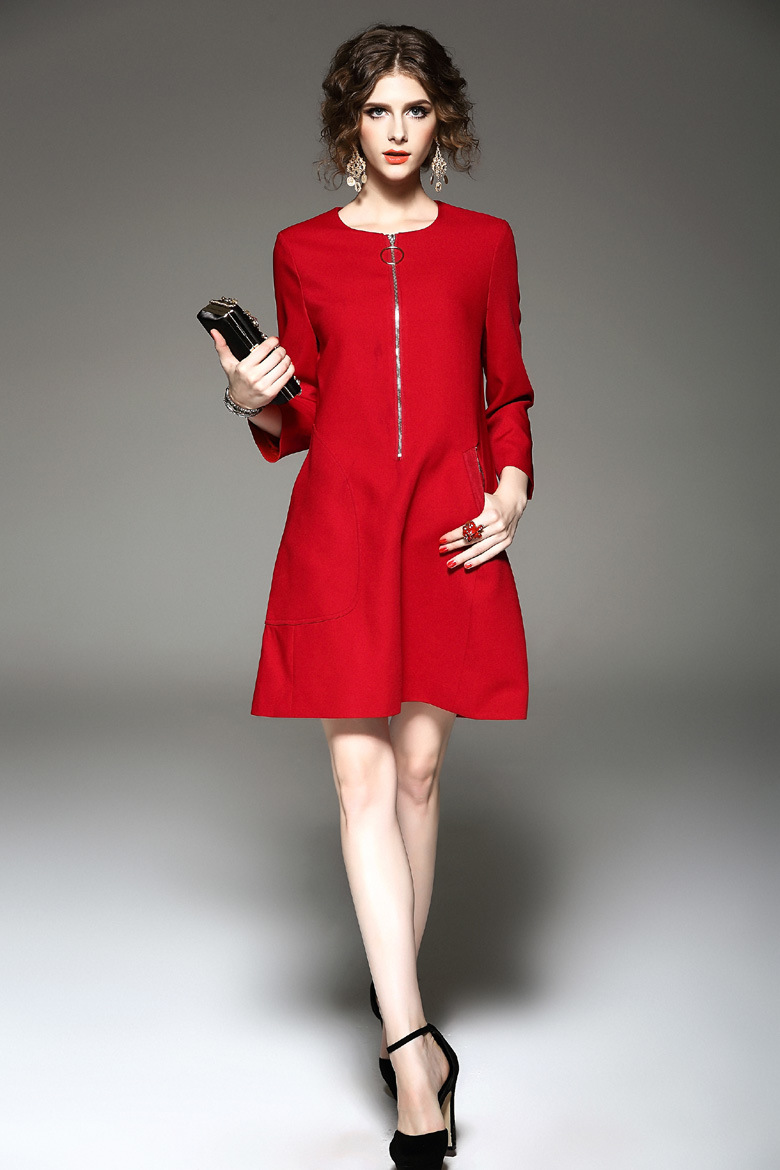 Customization Women Red Vintage Sheath Dress Work Business Office