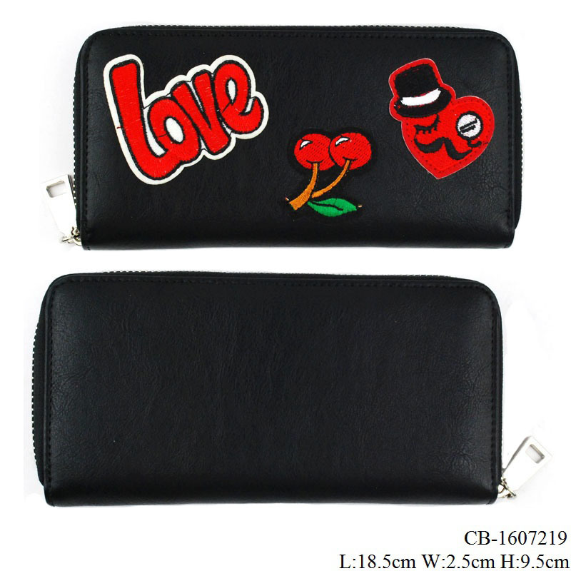 Lady′s Fashion Purse with Embroidery Patch PU Leather Wallet