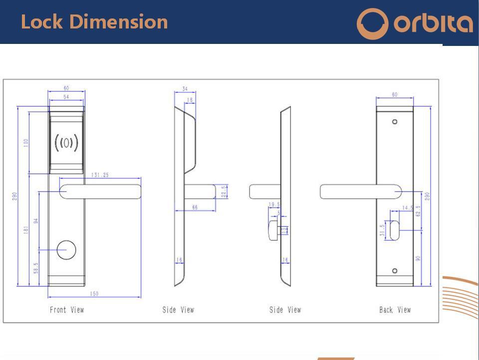 Orbita 304 Stainless Steel Keyless Electronic Hotel Door Lock with Stainless Steel Handle