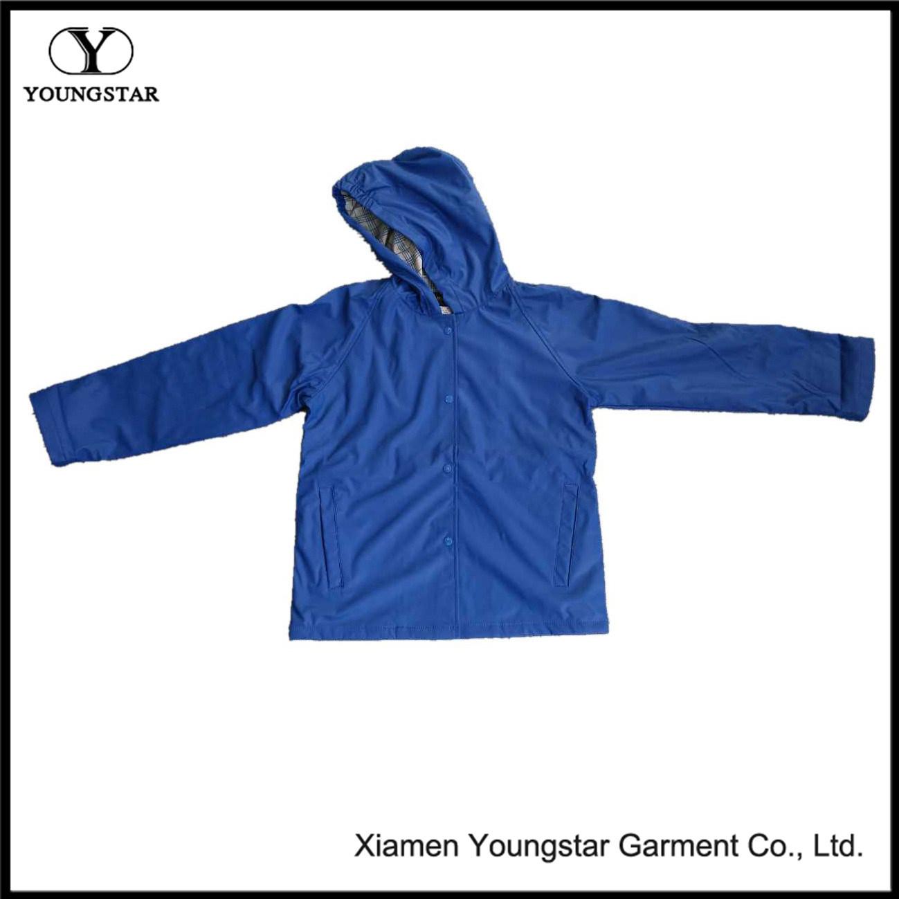 Unisex Waterproof Jacket Fashion PU Raincoat with Hood