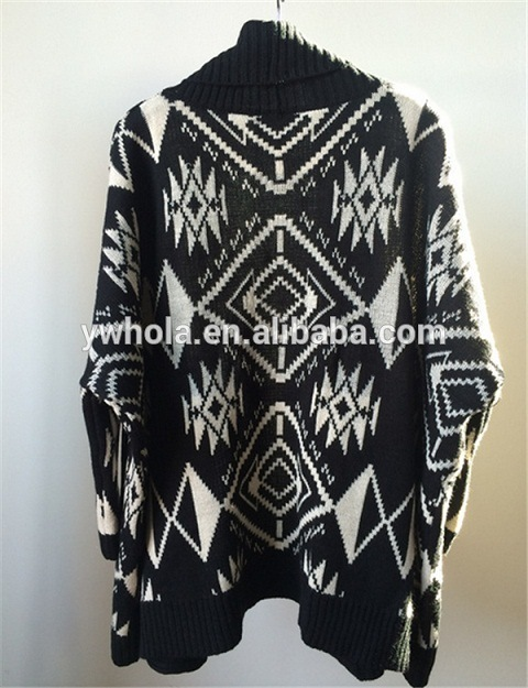 New Design Black and White Batwing Women Knit Cardigan Sweater