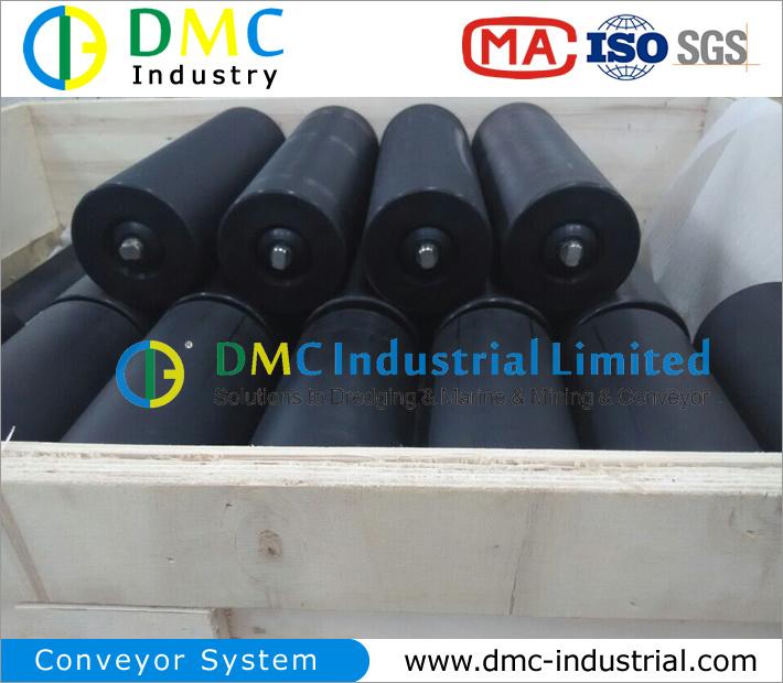 159mm Diameter Conveyor System HDPE Conveyor Idler Black Conveyor Rollers