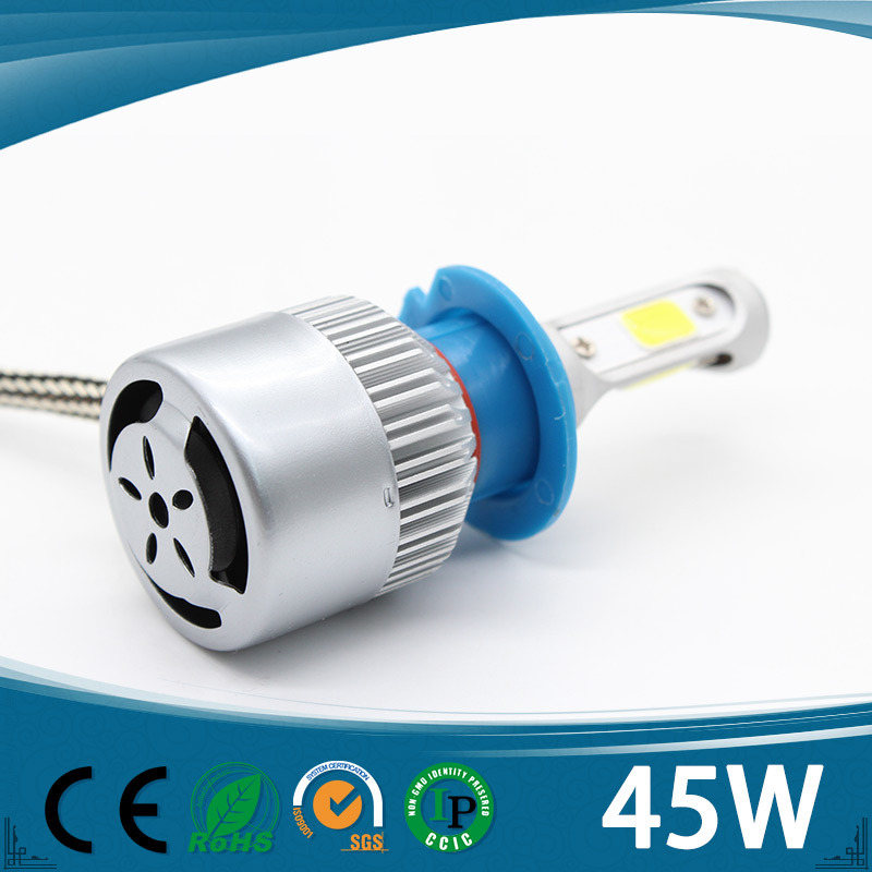 Three Sides Auto Headlight 9005 9006 H7 Hb3 Fog Driving Head Lights, 45W 12V H8 H9 H11 Car LED Headlight