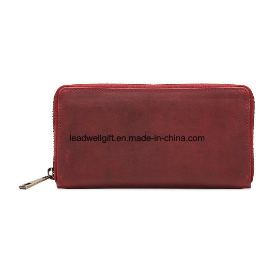 Red Ladies Leather Zip-Around Wallet, Leather Purse