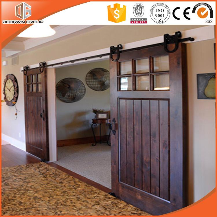 America/USA Latest Lifting Wheel Door, Solid Wood Barn Interior Door with Grille, Sliding Door with Top Track for High-End Villa, Pure Wood Door