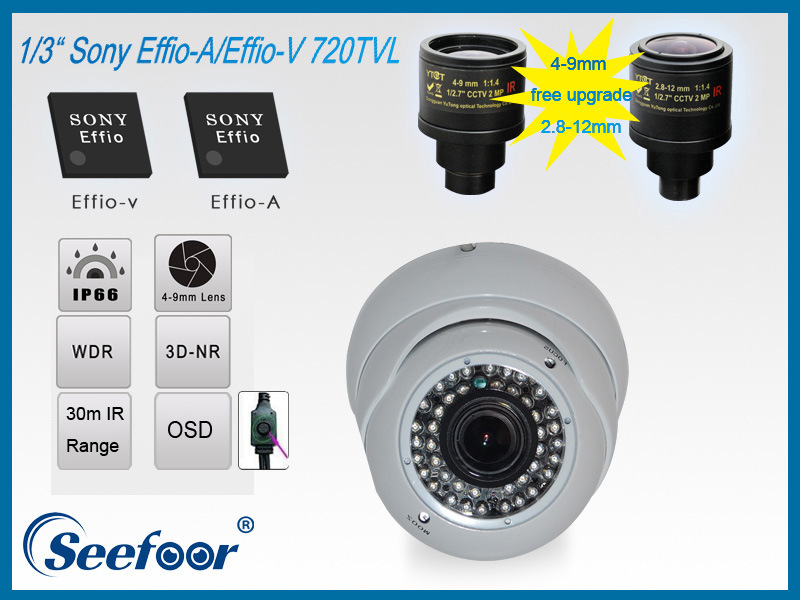 Outdoor Metal IR Dome Camera with 2.8-12mm Lens IP66