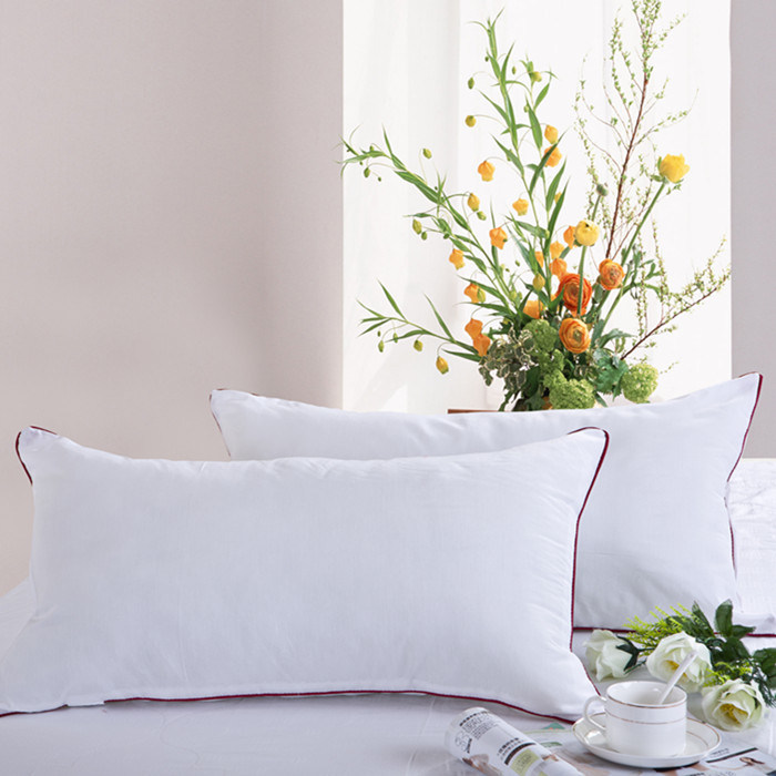 White Down Pillow with Downproof Cotton Pillowcase