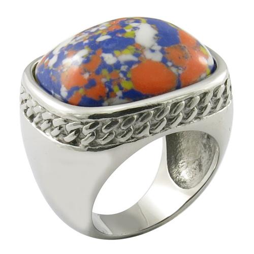 Bule Gemstone Stainless Steel Mens Ring