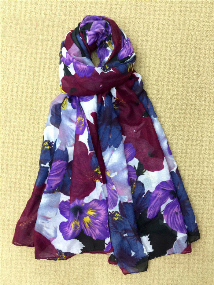 Flower Digital Printed Colorful Long Cotton Lady Scarf