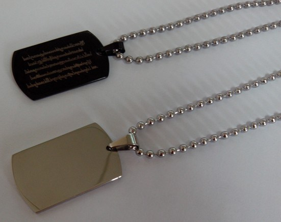 """Stainless Steel Dog Tag Necklace on 18"""" Ball Chain"""