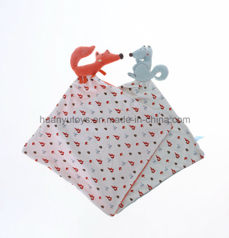 Baby Knitting Fabric Squirrel Snuggler Handkerchief