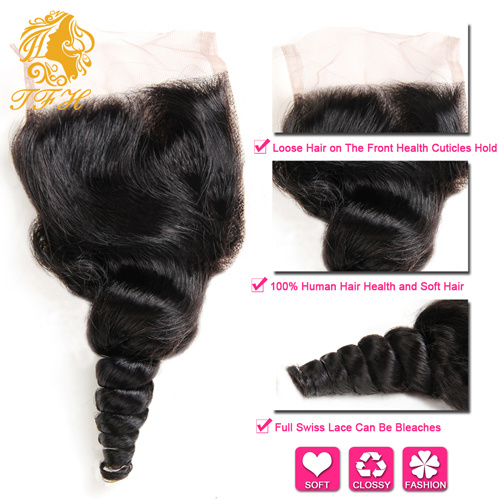 Brazilian Loose Wave Lace Closure with Bundles 4PCS Rosa Hair Products Brazilian Virgin Hair with Closure Brazilian Virgin Hair
