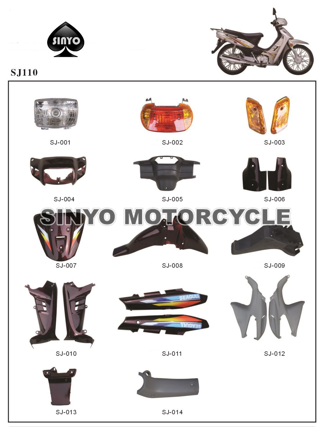 Popular Cub Motorcycle SJ110cc Spare Parts