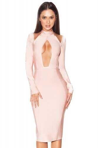 Sexy Lady Key Hole Long Sleeve Bandage Dress