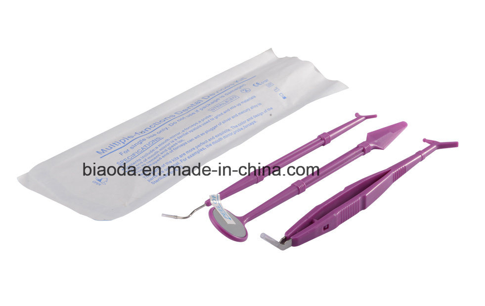 Disposable Dental Instrument Kit (glass mirror+stainless steel tweezer+double end probe+dental bib+plastic tray)