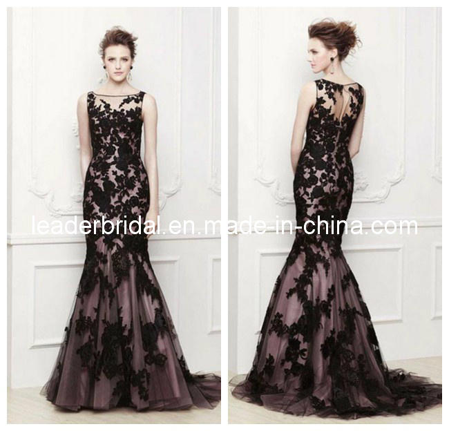 China mermaid prom dresses vestidos black brown lace party for Purple lace wedding dress