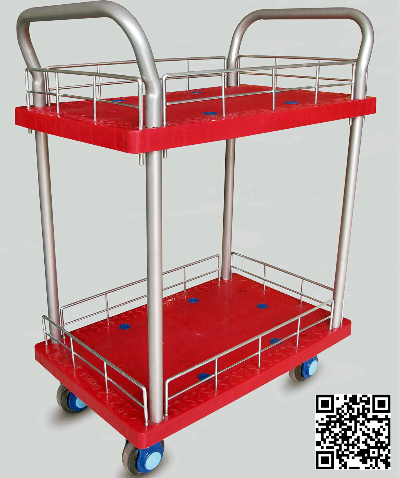 300kg Double Layers Red Color Plastic Hand Truck for Storage