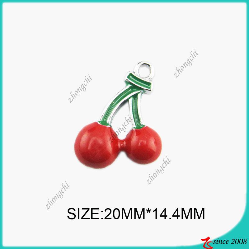Red Enamel Cherry Metal Charm (SPE)