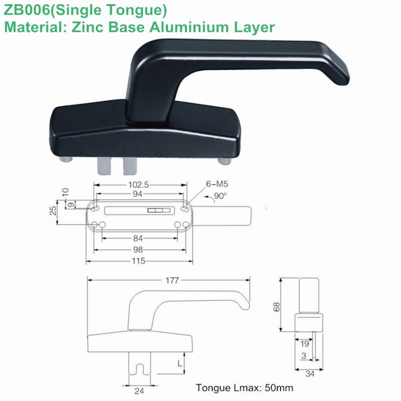 Zinc Alloy Single Tongue Handle for Door (ZB006)