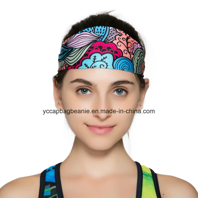 Wholesale Wide Polyester Spandex Print Yoga Sports Headbands