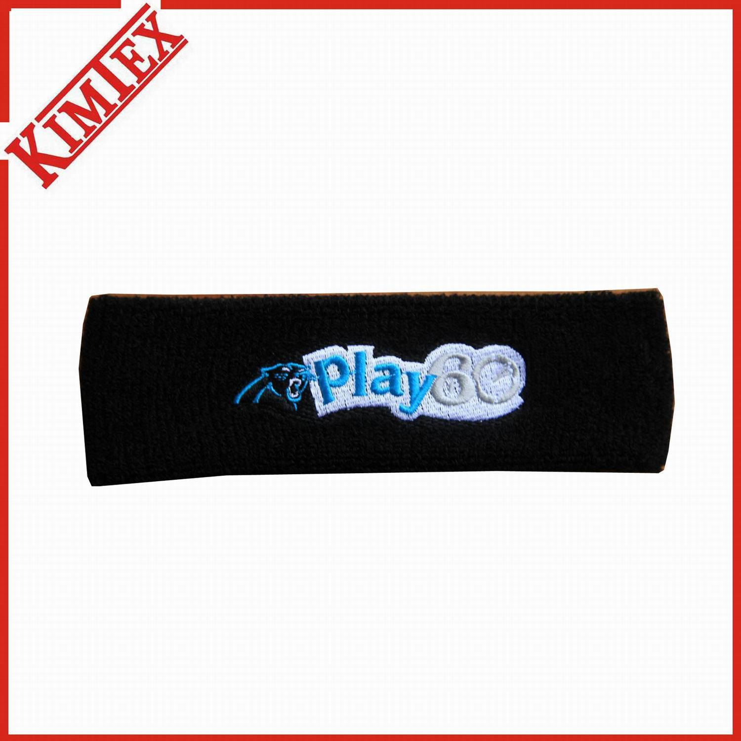 High Quality Promotion Cotton Headband with Logo Embroidery