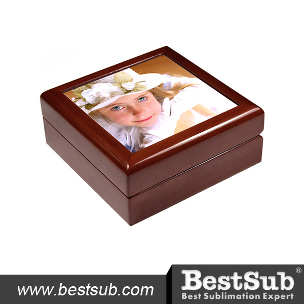 "Bestsub 6""X6""Ceramic Tiled Wood Jewelry Box (SPH66M)"