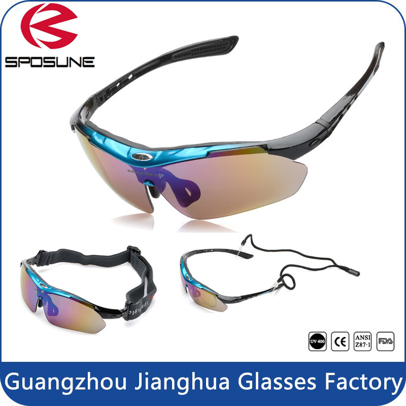 2017 Iridium Lenses Fashion Cycling Sunglasses with Your Logo Bulk Buy Driving Sun Glasses Interchangeable Temple Volleyball Golf Eyewear