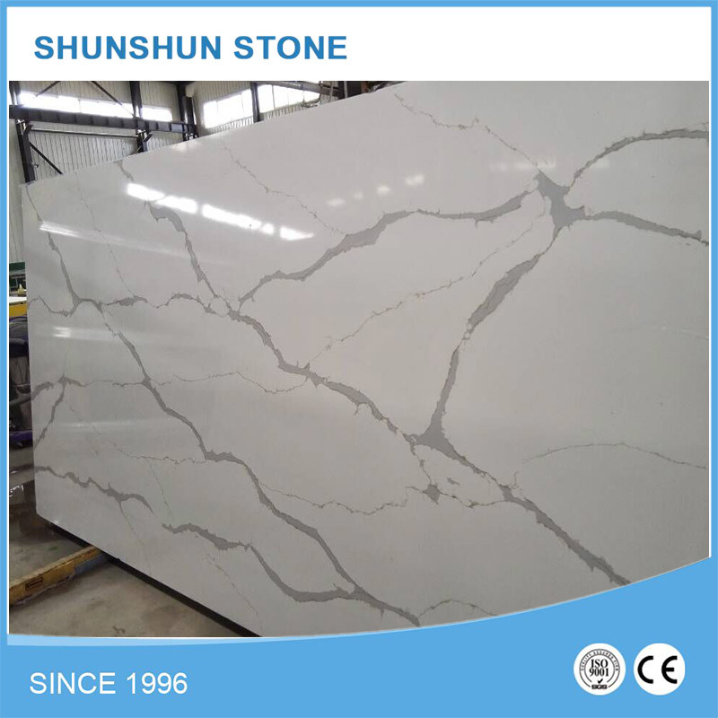 Artificial Stone White Calacatta Quartz Slab for Countertop