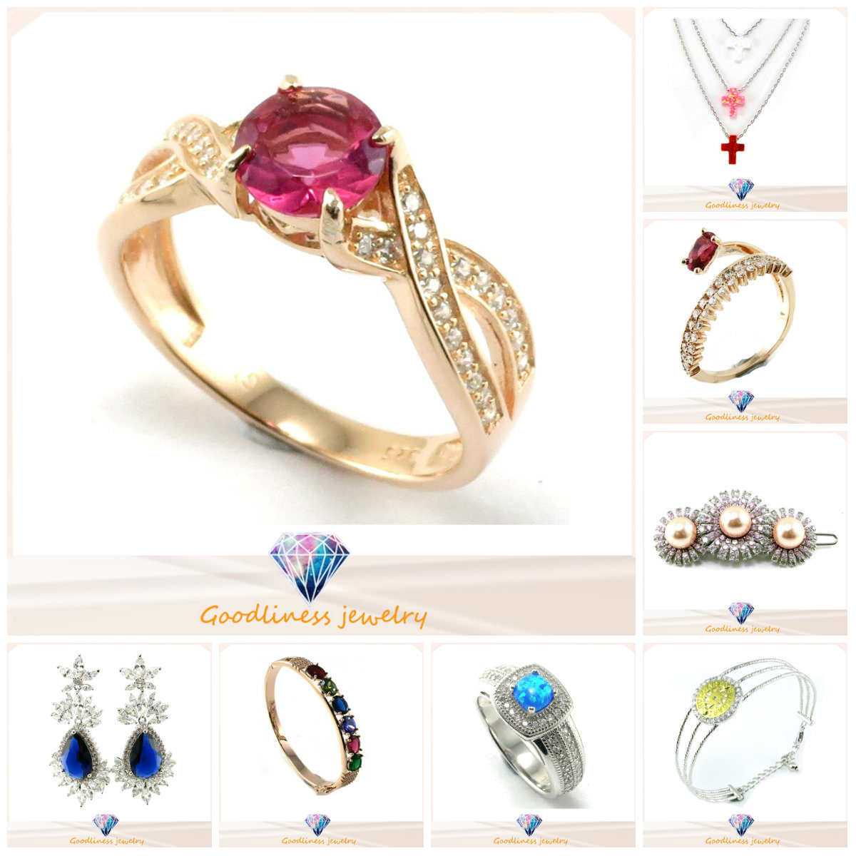 China Wholesale Cheap Fine Imitation Diamond Zircon Stainless Steel Gold Copper Wedding Jewelry for Woman Men Body 925 Sterling Silver Fashion Jewelry (A2r003)