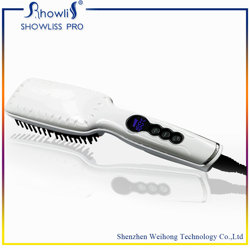 LCD Temperature Display Ceramicr 2 in 1 Ionic Hair Straightener Brush
