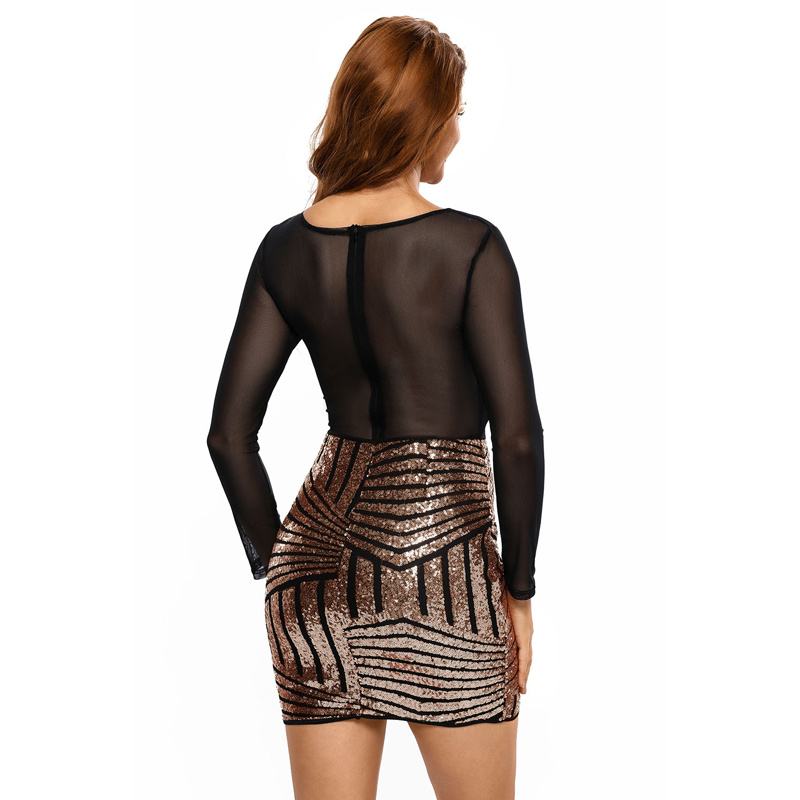 Sexy Long Sleeves Mesh Shadow Sequin Party Club Dress