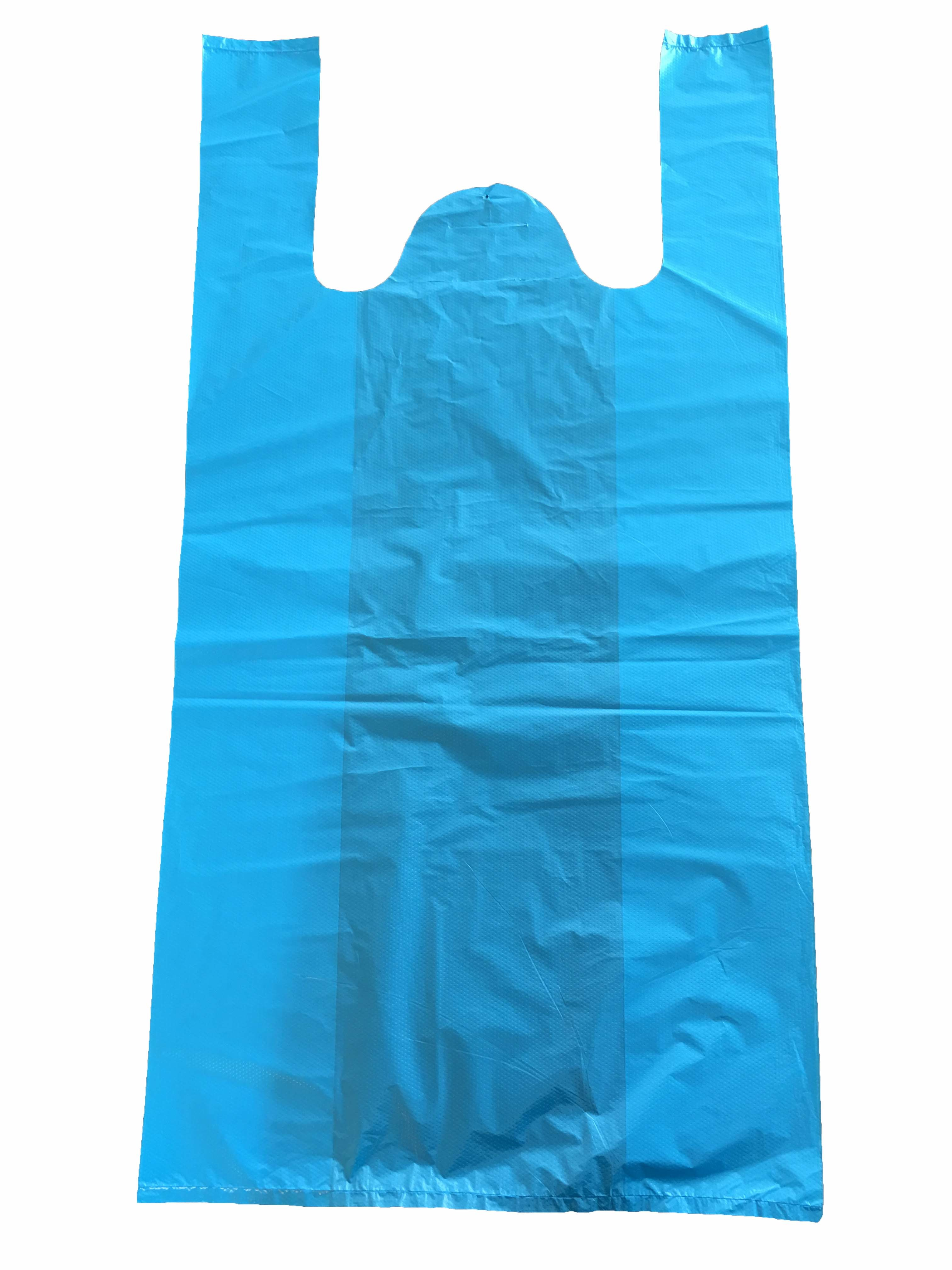 HDPE Plastic Blue T-Shirt Bag