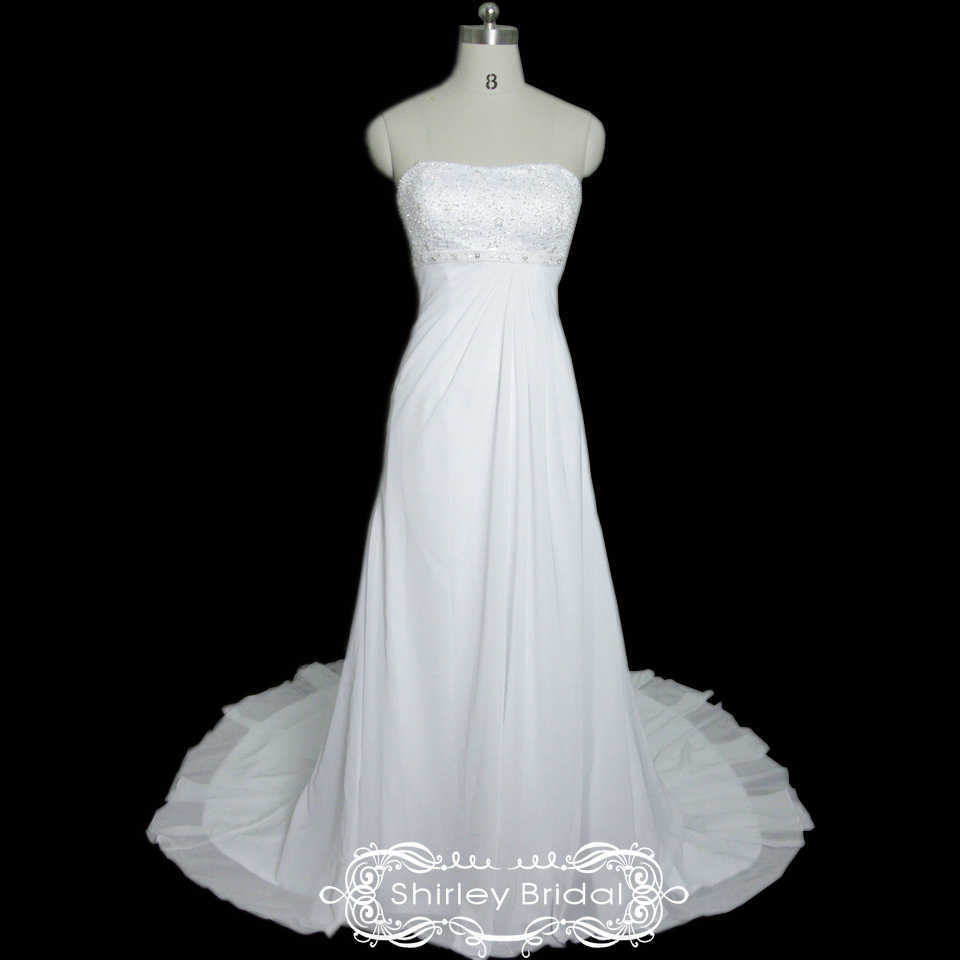 Ivory chiffon lace up back floor length beach wedding dress
