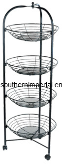 Rotating/Mobile Round Metal Wire Basket Grid Display Shelf
