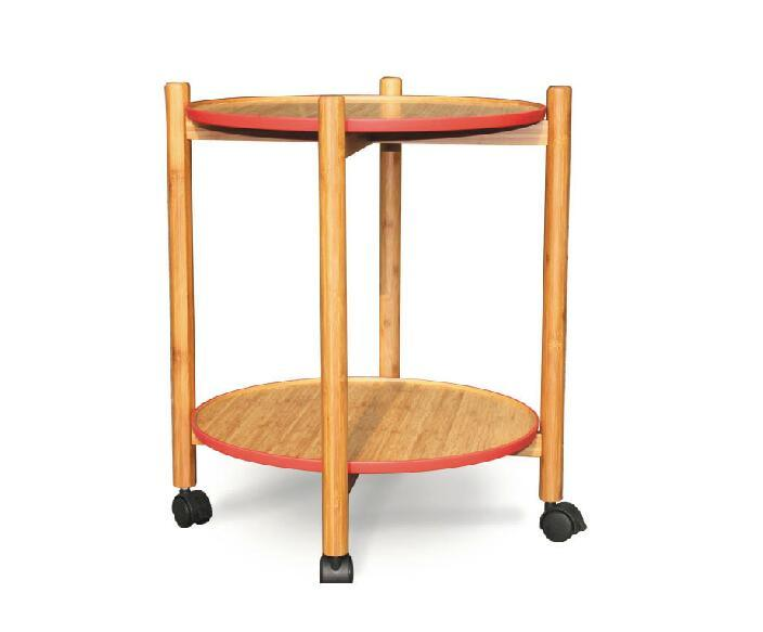 Bamboo Serving Cart Bamboo Kitchen Trolley with Two Layers Eb-51001