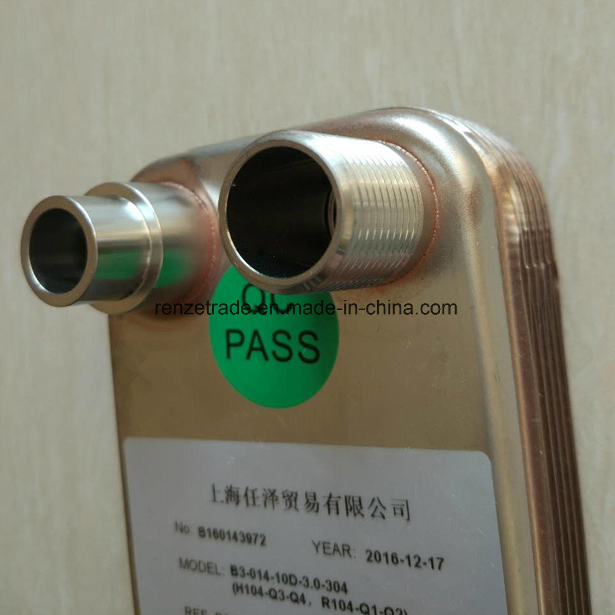 Industrial Cooling System Refrigerant to Water Copper Brazed Plate Type Heat Exchanger
