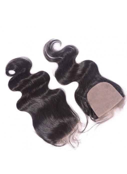 4X4 Body Wave Virgin Peruvian Human Hair Silk Base Closure with Baby Hair