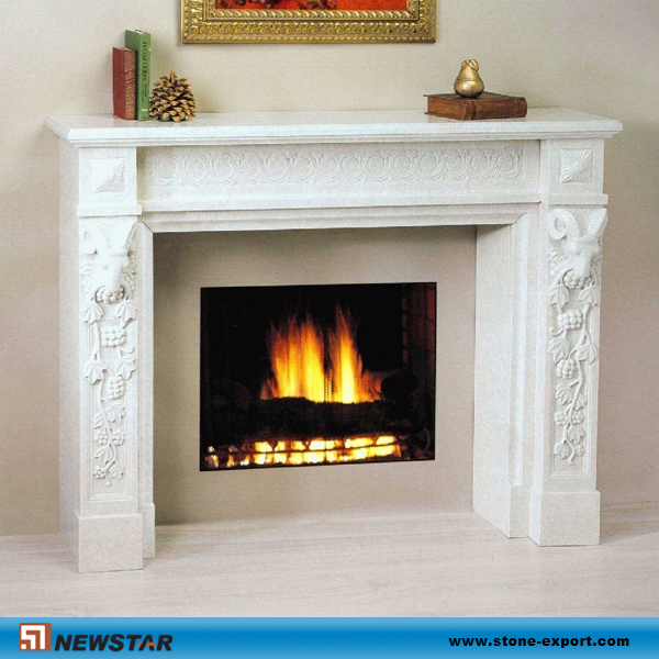 China engineered artificial stone snow white fireplace for Engineered fireplace