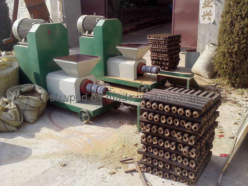 China wood sawdust briquette extruder machine photos