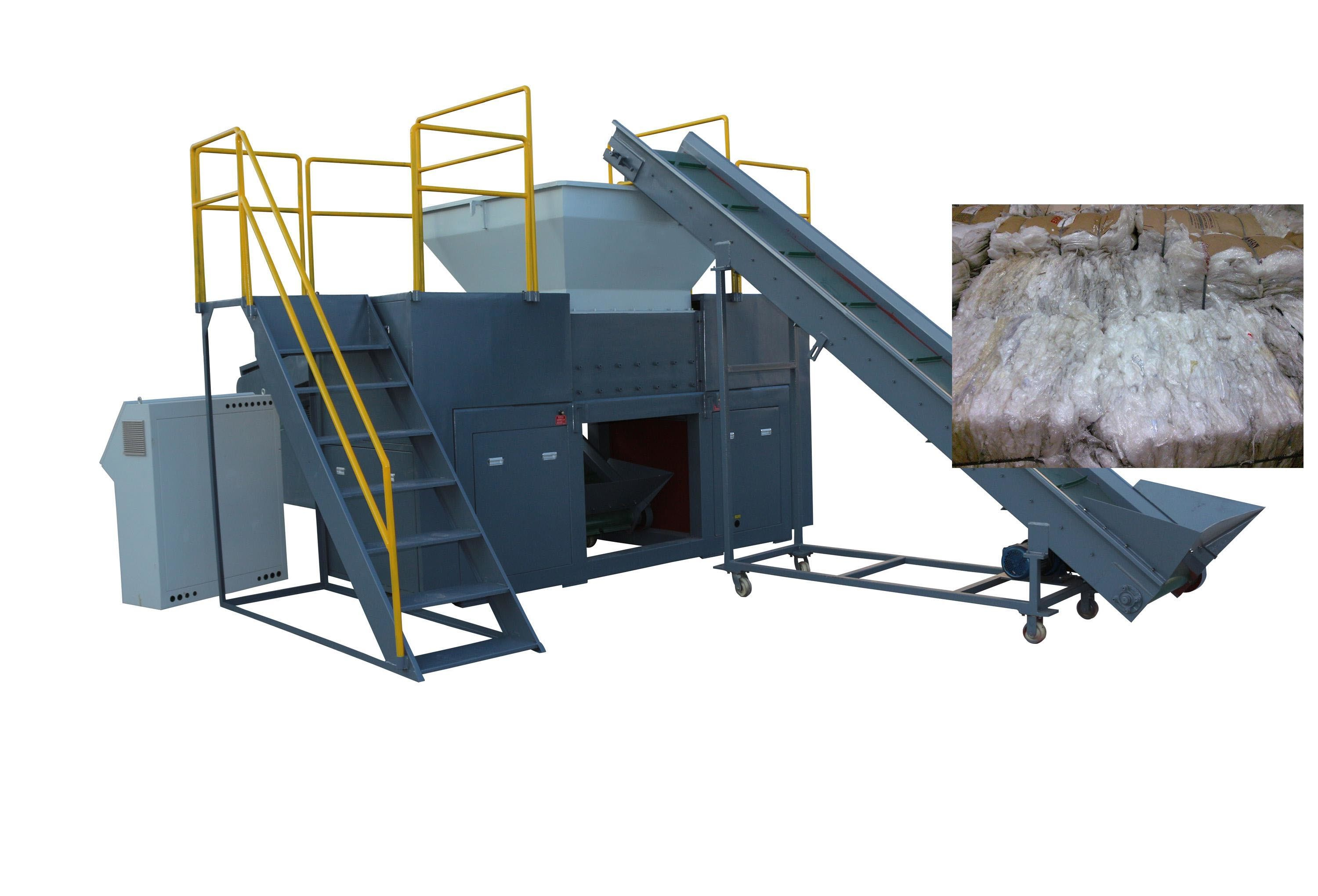 PE, PP Plastic Film Double Shaft Conveyor Shredder