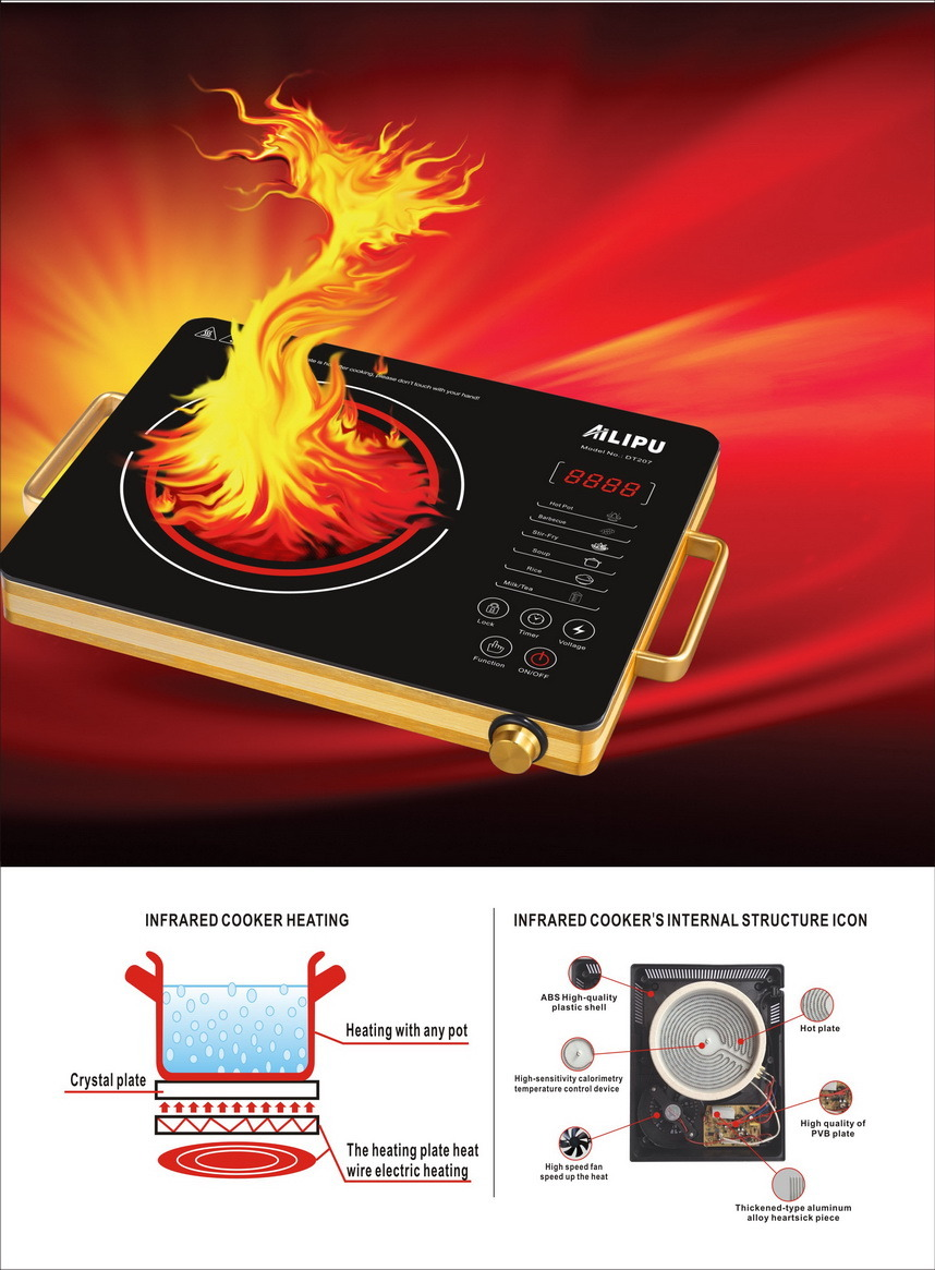 Aluminum Alloy Body 600 Heating Temperature Infrared Cooker /Radiant Cooker