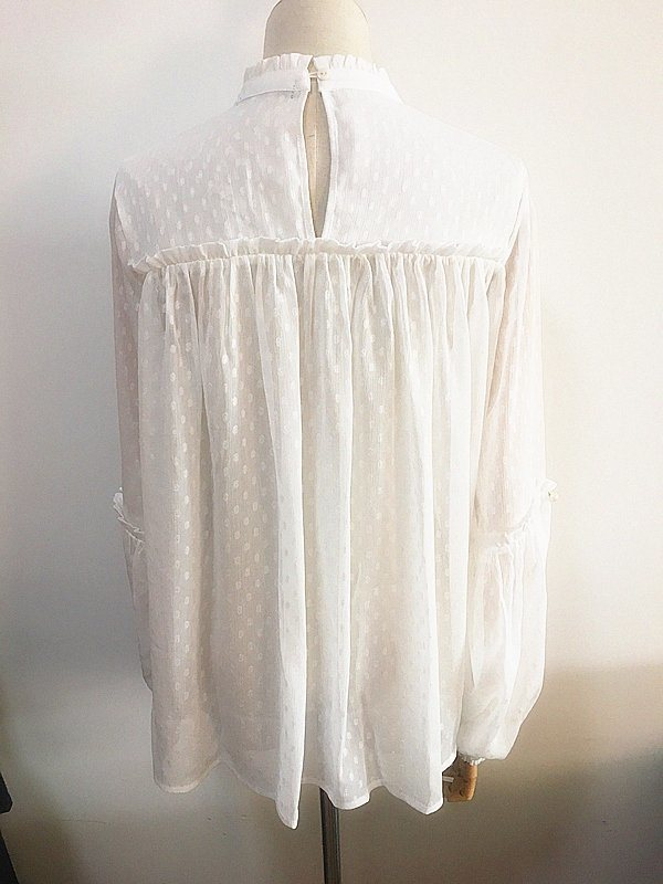 Fashion Clothing White Ruffled Collar Balloon Sleeve Women Blouse