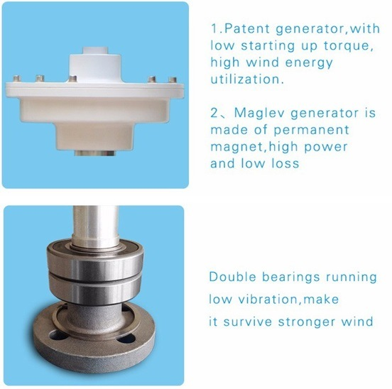 China Manufacturer 300W Vertical Wind Driven Turbine with Maglev Generator